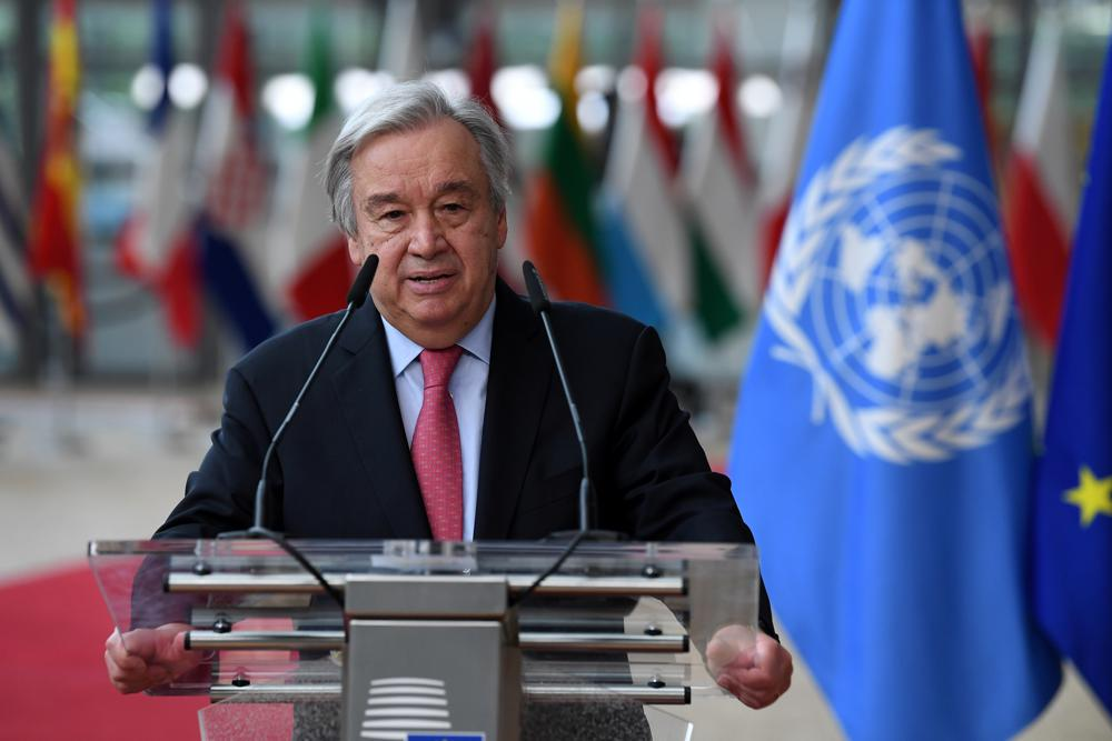 """FILE - In this June 24, 2021 file photo, United Nations Secretary General Antonio Guterres addresses journalists during an EU summit at the European Council building in Brussels.  Guterres has issued a dire warning, Saturday, Sept. 11,  that the world is moving in the wrong direction and faces """"a pivotal moment.""""  (John Thys, Pool Photo via AP, File)"""