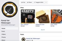 This image captured from the Battle of the Nibelungs Facebook page on Friday, Sept. 24, 2021 shows items for sale featuring the right-wing extremist group's name and logo. The Battle of the Nibelungs, or Kampf der Nibelungen, is the premiere martial arts brand in Europe for right-wing extremists. German authorities have twice banned their signature tournament. But the group still maintains multiple pages on Facebook, Instagram and YouTube, which they use to spread their ideology, draw in recruits and make money. (AP Photo)