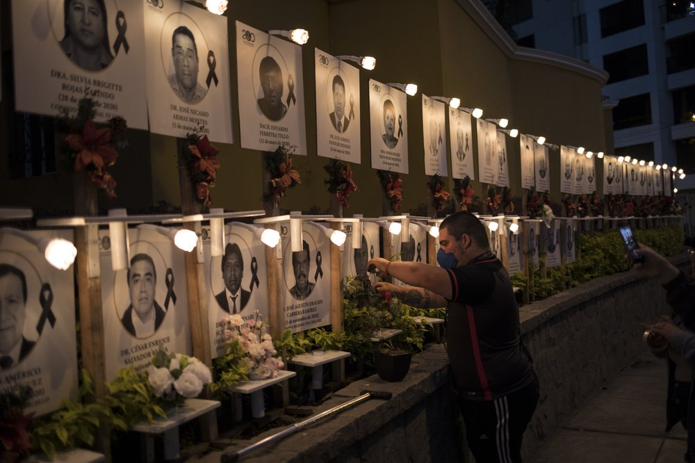 "Makeshift memorial  for fallen ""pandemic soldiers/doctors"" battling COVID-19 in Peru"