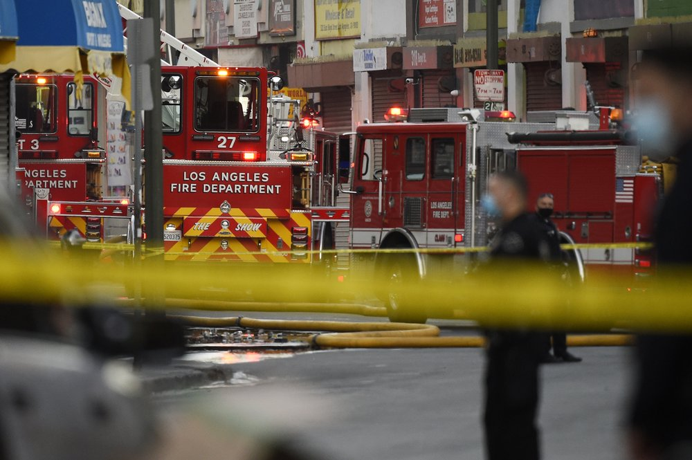 Police and fire investigators look into explosion at a hash oil manufacturer in downtown Los Angeles
