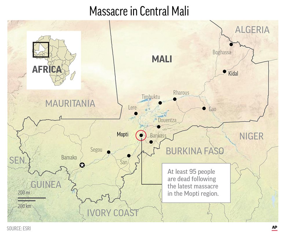 Officials say 95 dead in new ethnic massacre in central Mali