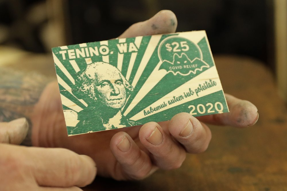 Innovative and helpful: the city of Tenino, Washington, is dipping into its emergency accounts to give people in need up to $300 per month in wooden currency to spend