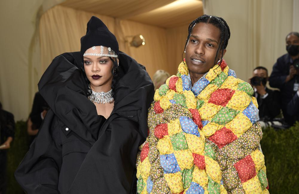 """Rihanna, left, and ASAP Rocky attend The Metropolitan Museum of Art's Costume Institute benefit gala celebrating the opening of the """"In America: A Lexicon of Fashion"""" exhibition on Monday, Sept. 13, 2021, in New York. (Photo by Evan Agostini/Invision/AP)"""