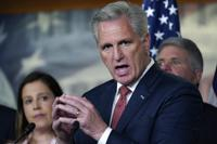 FILE - In this Wednesday, June 23, 2021. file photo, House Minority Leader Kevin McCarthy, R-Calif., joined at left by House Republican Conference Chair Elise Stefanik, R-N.Y., holds a news conference to charge China with a coverup of the origin of COVID-19, at the Capitol in Washington. A police officer who was injured in the Jan. 6 Capitol insurrection and has pushed for an independent commission to investigate the attack will meet with House Republican leader Kevin McCarthy on Friday, June 25, 2021 according to two people familiar with the meeting. (AP Photo/J. Scott Applewhite, File)