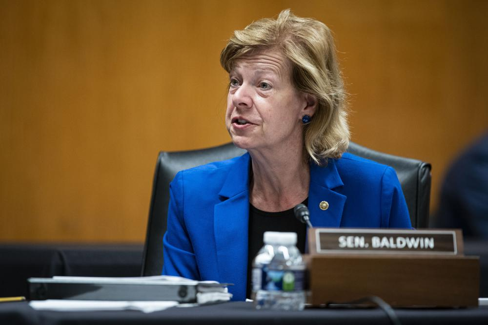 Sen. Tammy Baldwin, D-Wis., speaks during a Senate Appropriations Subcommittee hearing, Wednesday, June 9, 2021, on Capitol Hill in Washington. Baldwin joined fellow Democratic senators Raphael Warnock and Jon Ossof of Georgia in introducing a bill on Monday, July 12, 2021, to require the federal government to set up a Medicaid-like health plan in states that have not expanded Medicaid plans to cover more low-income adults. (Al Drago/Pool via AP, file)
