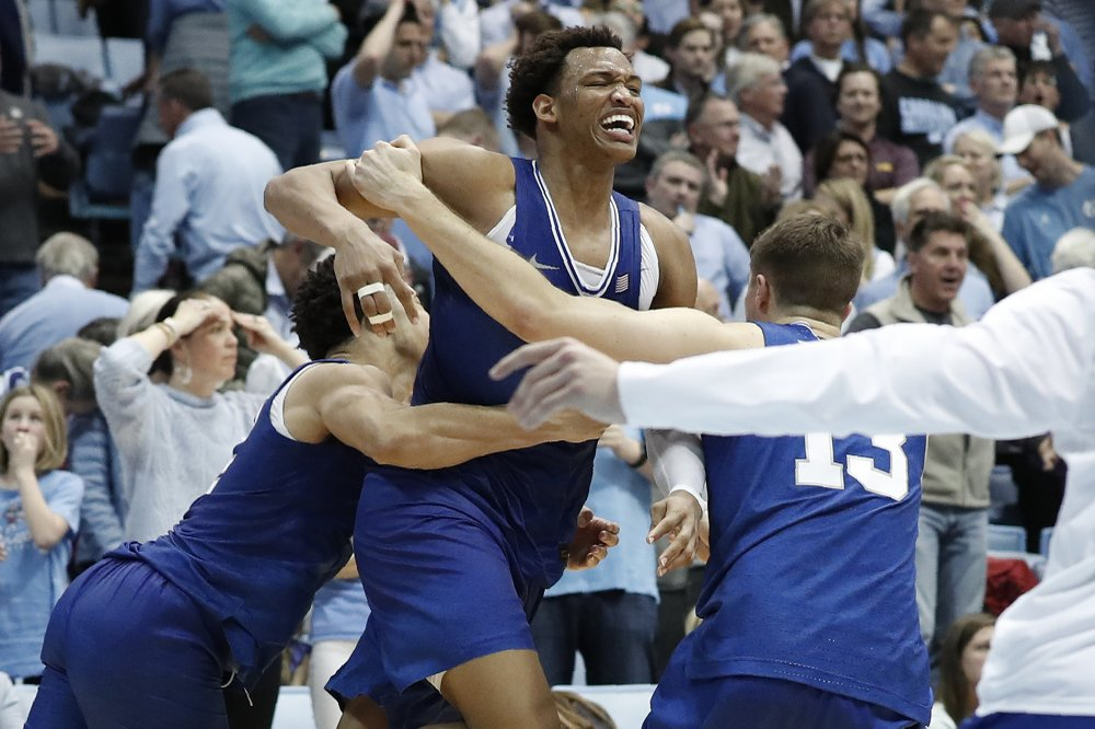 Wendell Moore had a terrific showing, and made the clutch shot in overtime to get his team a decisive, go-ahead victory over North Carolina.  (Photo: Gerry Broome/The Associated Press, via AP News.)