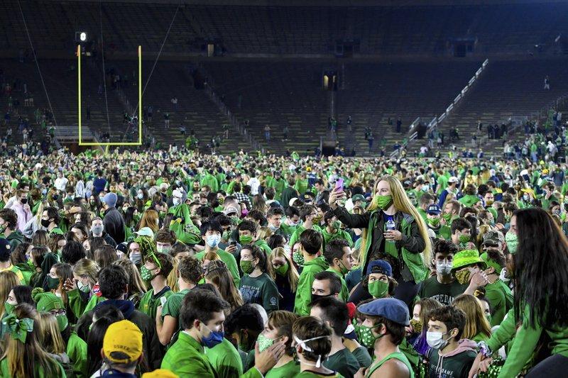Notre Dame mandates virus testing after mass football celebration following team's win over Clemson