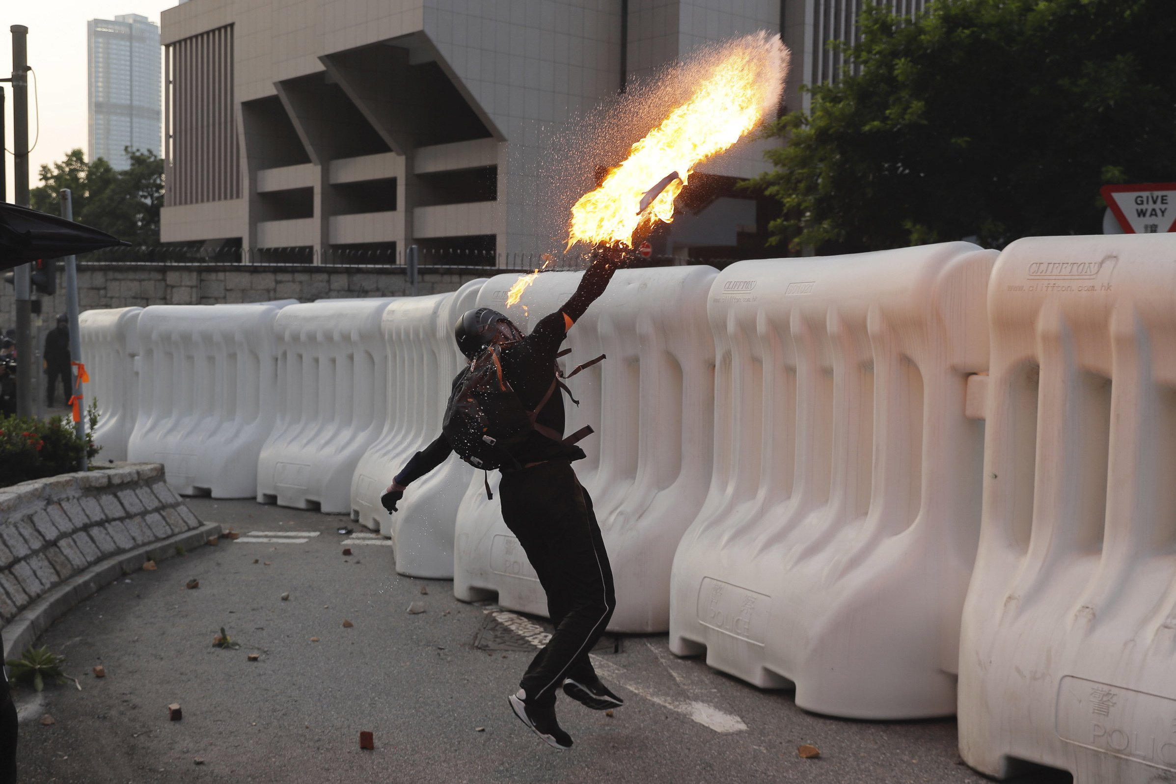 Violence flares after protest march in downtown Hong Kong