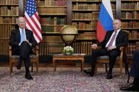 FILE - In this June 16, 2021, file photo President Joe Biden meets with Russian President Vladimir Putin in Geneva, Switzerland. (AP Photo/Patrick Semansky, File)