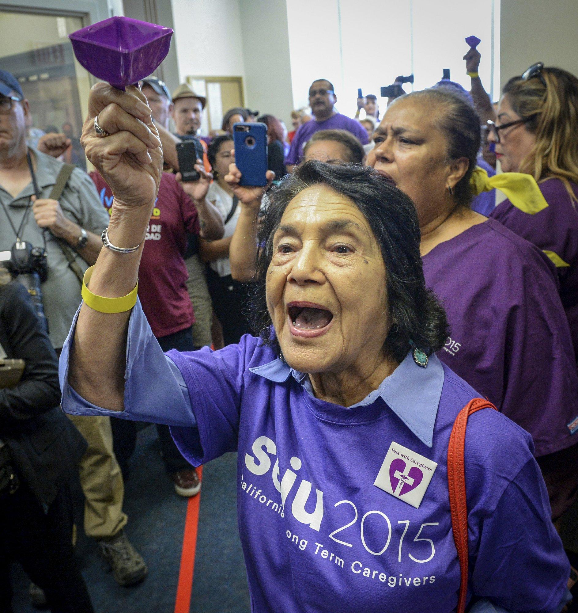 Labor leader Dolores Huerta arrested in worker demonstration
