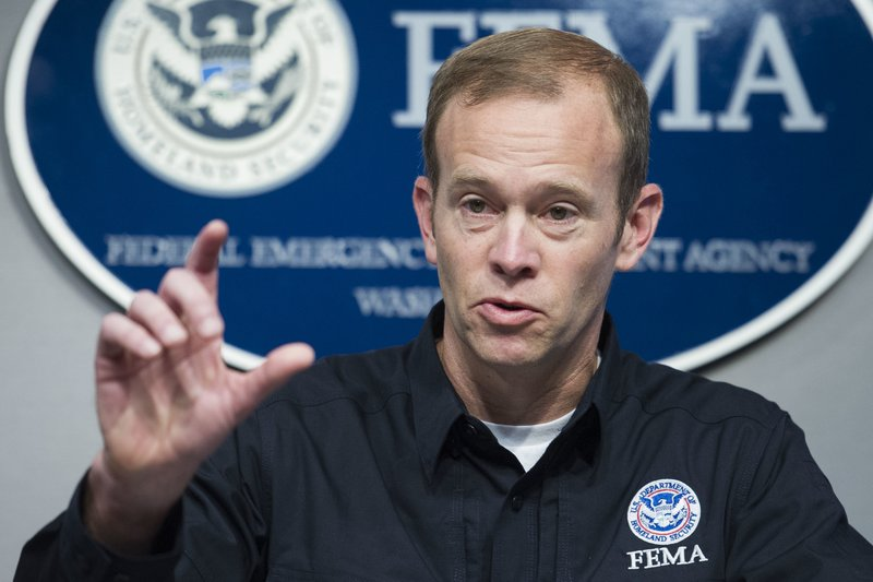 Brock Long delivers an update on the federal response to Hurricane Irma in Washington in this Sept. 15, 2017, photo. (AP Photo/Cliff Owen)
