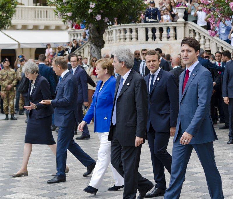 Angela Merkel, Paolo Gentiloni, Emmanuel Macron, Theresa May, Donald Tusk, Justin Trudeau