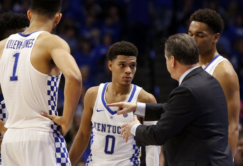 John Calipari, Sacha Killeya-Jones, Quade Green, P.J. Washington