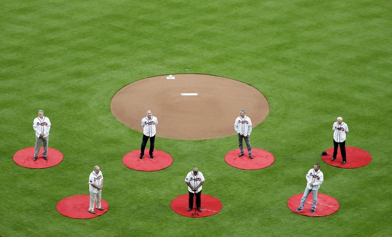Phil Niekro, Bobby Cox, John Smoltz, Hank Aaron, Dale Murphy Chipper Jones, Tom Glavine