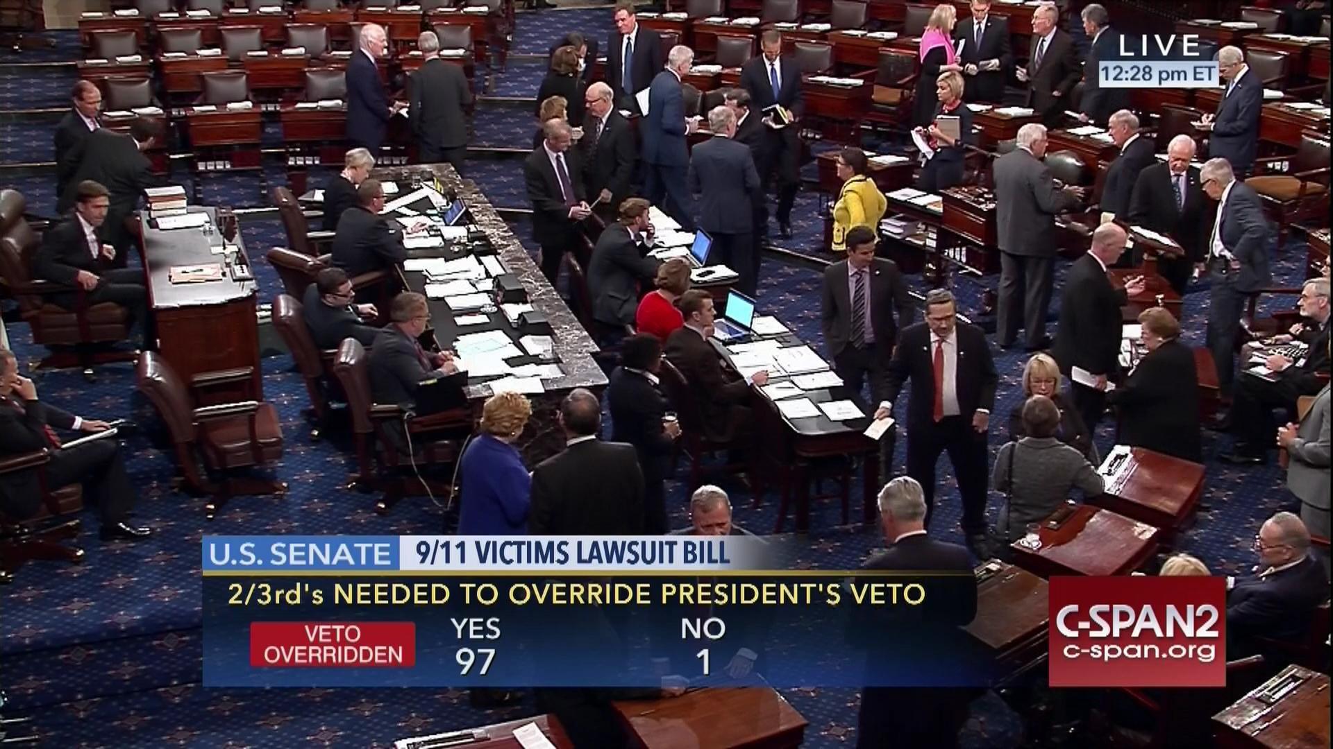 Congress rebukes Obama, overrides veto of 9/11 legislation
