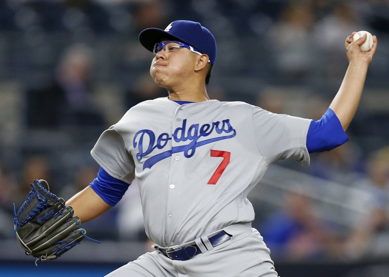 8065938b2 CORRECTS TO NEW YORK YANKEES INSTEAD OF NEW YORK METS IN FIRST SENTENCE  FILE - This Sept. 13, 2016 file photo shows Los Angeles Dodgers' starting  pitcher ...