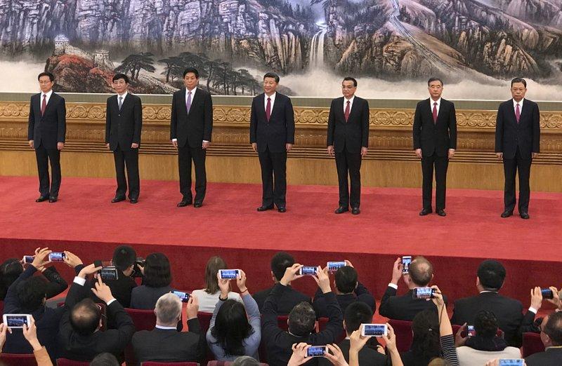 Han Zheng, Wang Huning, Li Zhanshu, Xi Jinping, Li Keqiang, Wang Yang, Zhao Leji