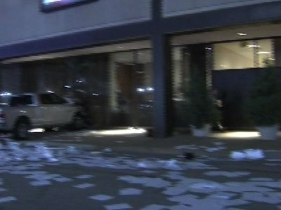 Man crashes his truck into Texas TV station