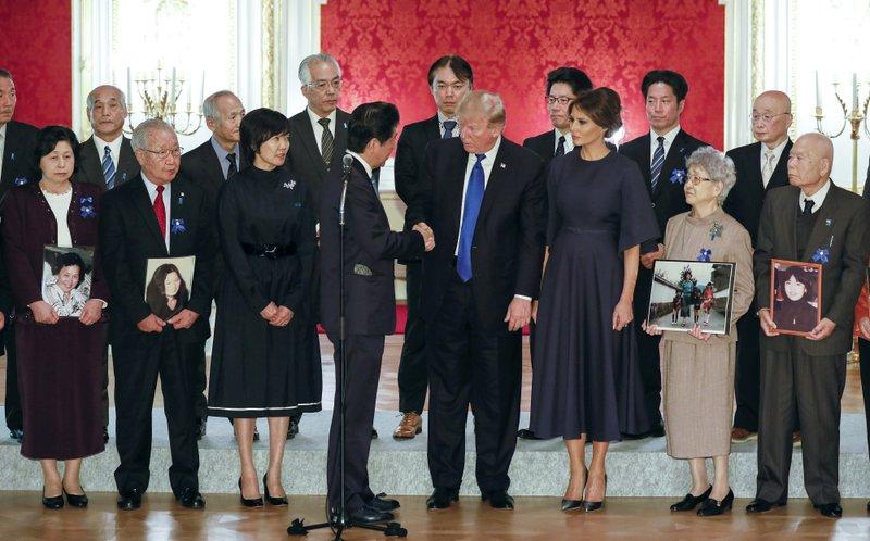 Donald Trump, Shinzo Abe, Hitomi Soga, Shigeo Iizuka, Akie Abe, Melania Trump, Sakie Yokota, Akihiro Arimura