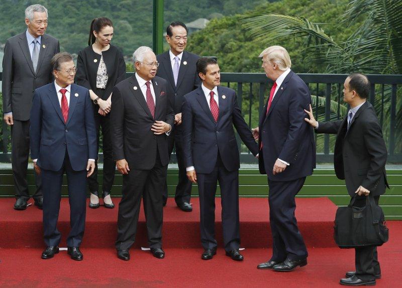 Donald Trump, Najib Razak, Moon Jae-in, Jacinda Ardern, Enrique Pena Nieto, Lee Hsien Loong