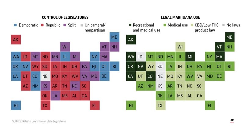 Mapping pot legalization politics: Not just red vs  blue