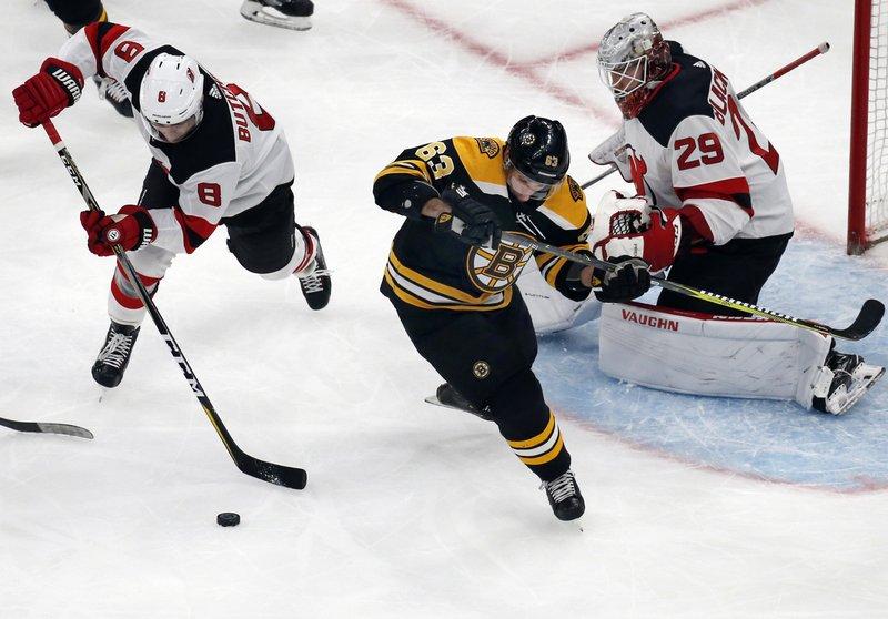 promo code eb2a9 82e7f Blackwood stops 40 shots in 1st win, Devils beat Bruins 5-2
