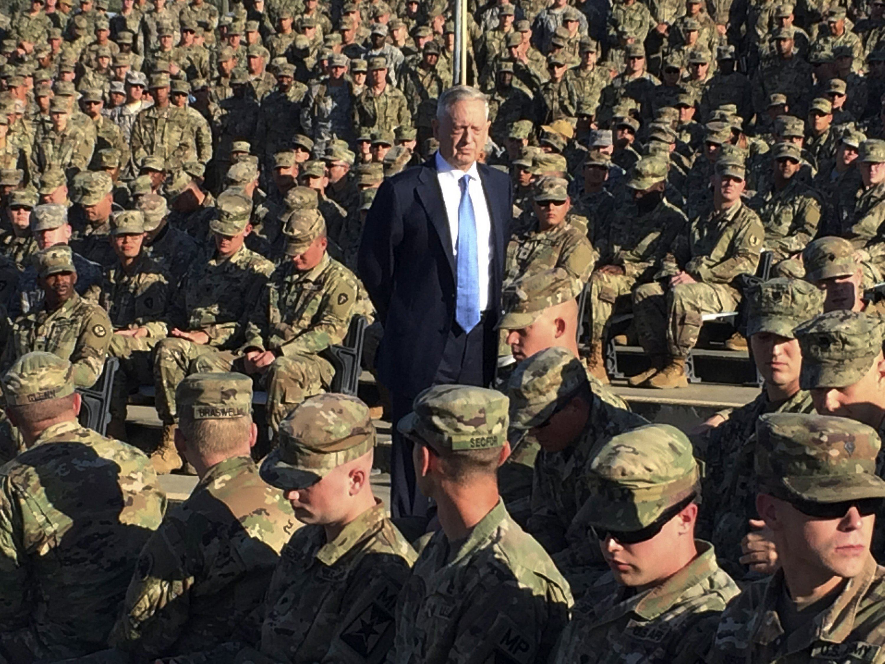 Mattis reveals himself in storytelling moments with troops