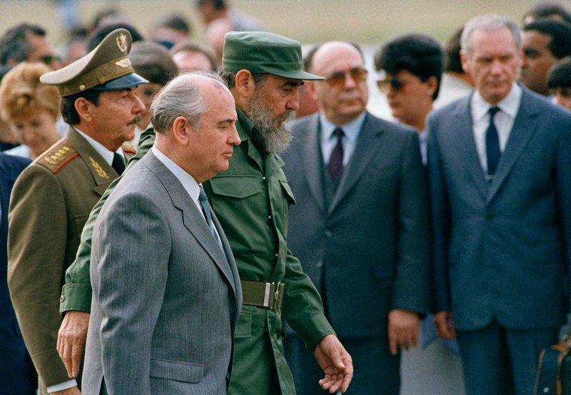 Mikhail Gorbachev, Fidel Castro, Raul Castro