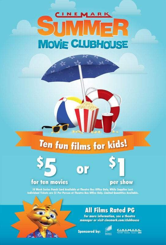 Cinemark Summer Movie Clubhouse Series Offers Discounted Family-Friendly Movies