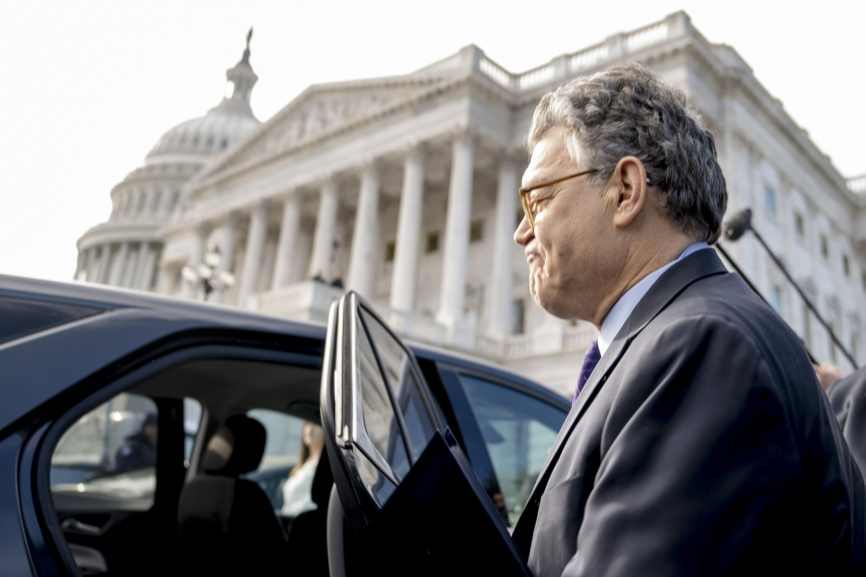Combative Franken quits, points to GOP tolerance of Trump