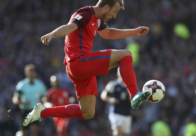 England S Harry Kane Scores His Side Second Goal During The World Cup Group F Qualifying Soccer Match Between Scotland And At Hampden Park