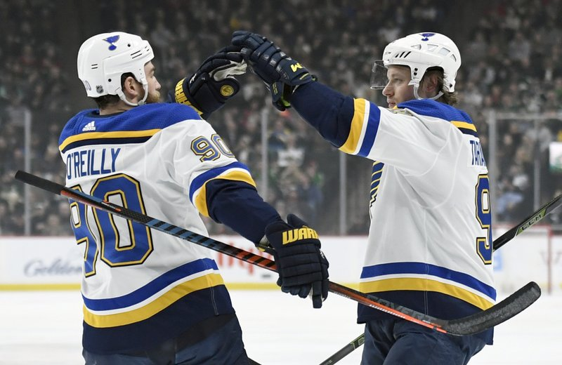 quality design a9510 eae4c Blues post 3rd straight shutout, beat Wild for 10th straight