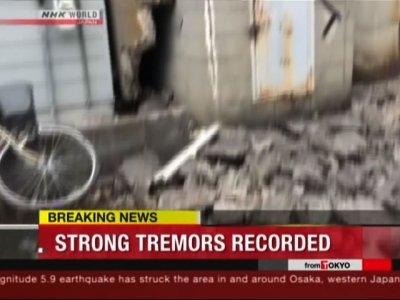 Raw: Strong Earthquake Strikes Near Osaka, Japan