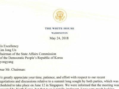 Trump Sends Letter Canceling NKorea Summit