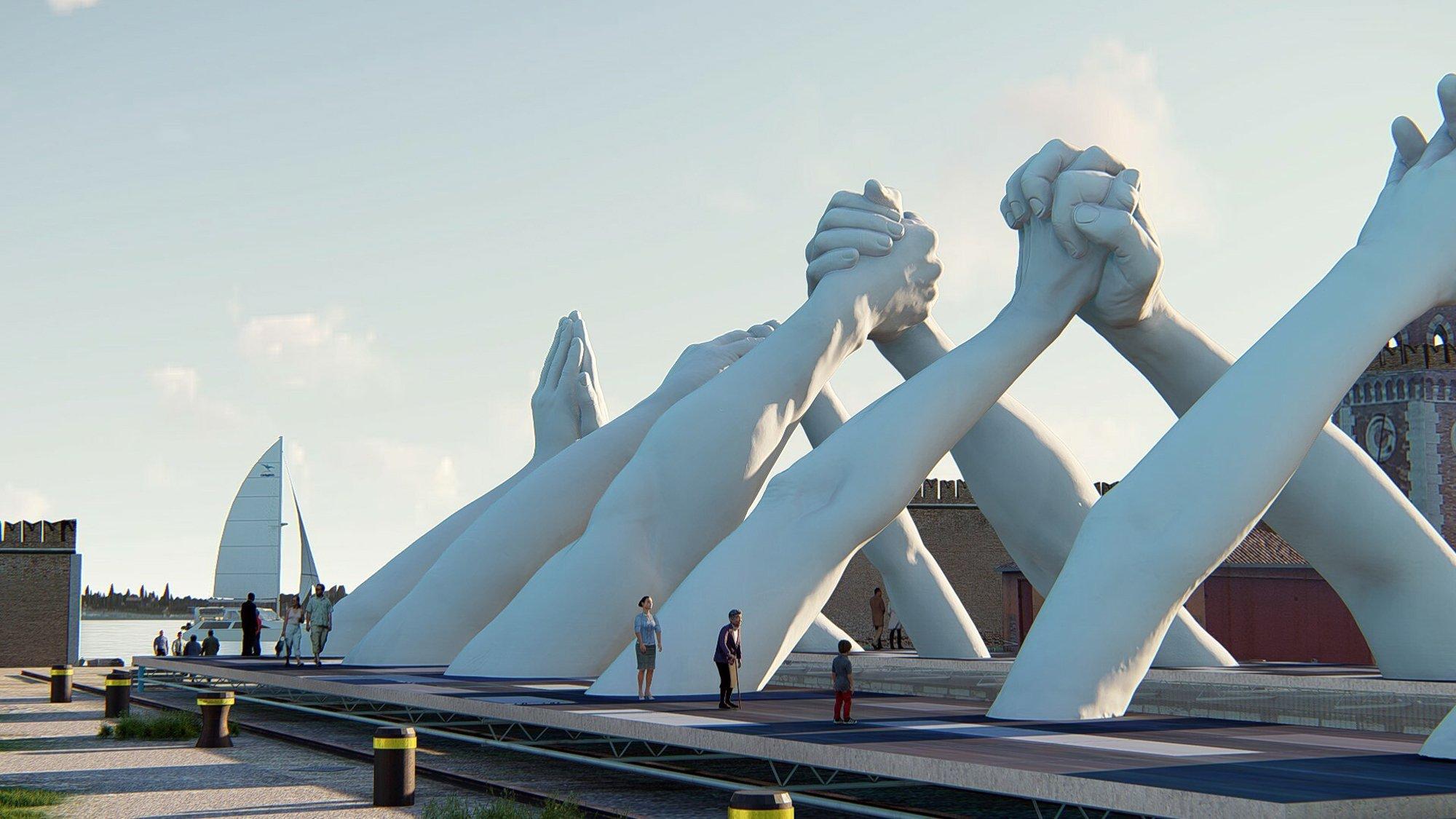 Italian artist Lorenzo Quinn builds bridges over Venice