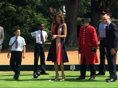 Melania Trump Tries Her Hand at Lawn Bowls