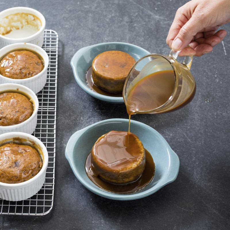 Our sweet, butterscotch-like sauce makes these cakes tasty