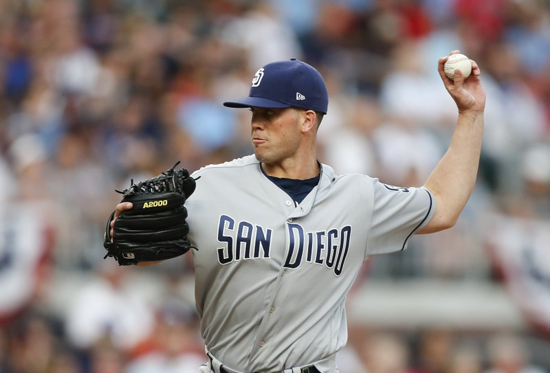 San Diego Padres starting pitcher Clayton Richards works in the first inning of a baseball game against the Atlanta Braves, Saturday, April 15, 2017, in Atlanta. (AP Photo/John Bazemore)