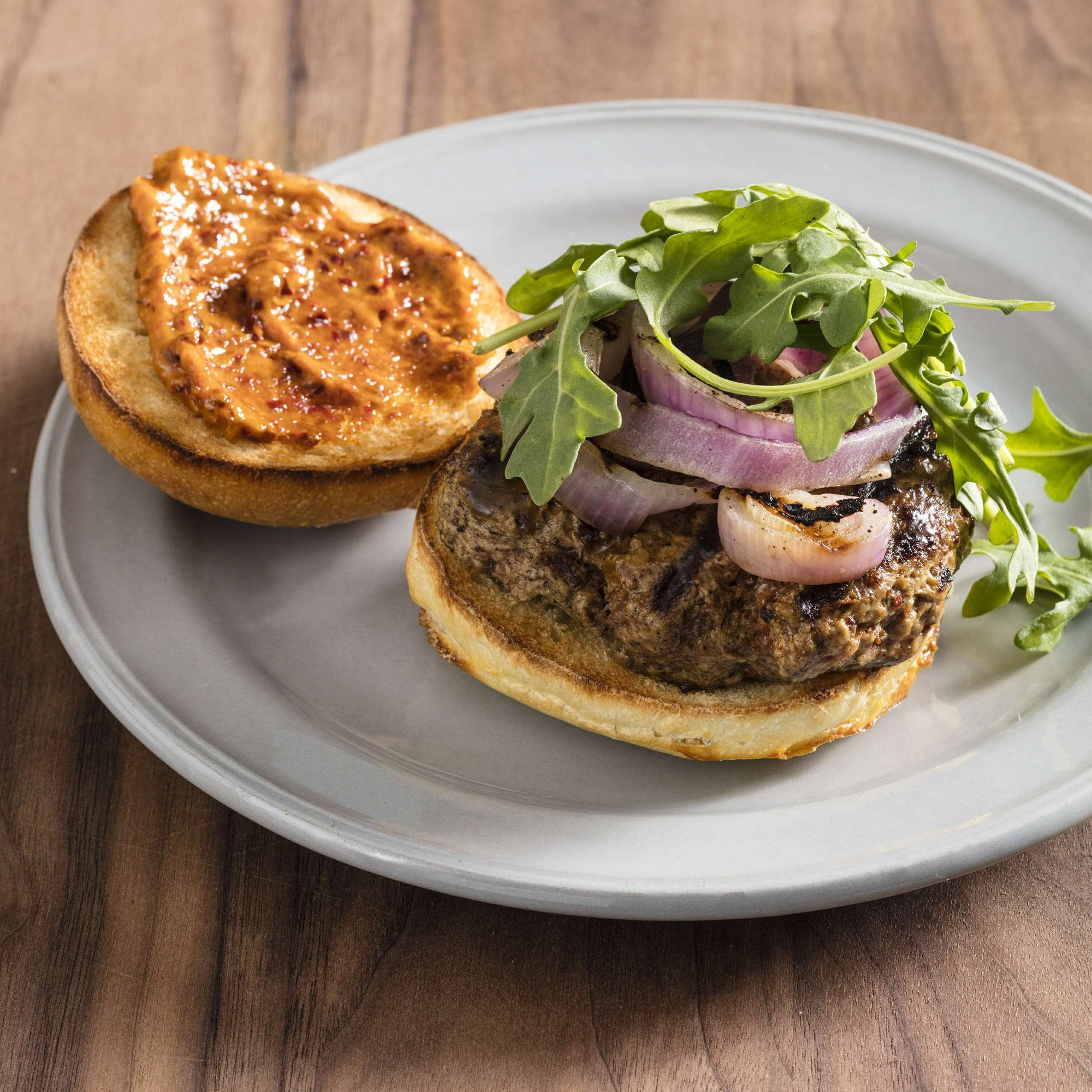 Harissa pairs perfectly with lamb in this spiced burger