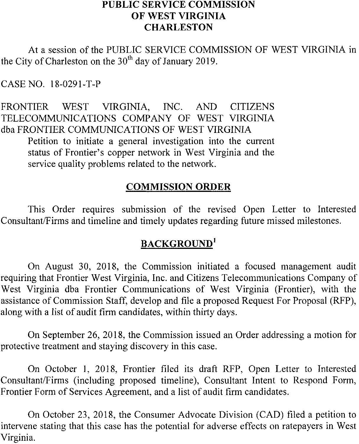 WV PSC: Frontier doesn't seem to take audit seriously