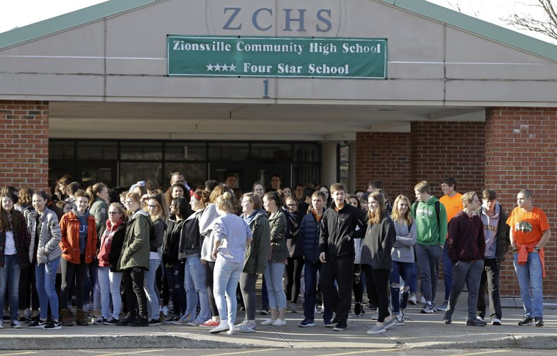 Students Walk Out Of Zionsville High School During A Student Walkout,  Wednesday, March 14, 2018, In Zionsville, Ind. Students Across The Country  ...
