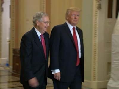 Trump Arrives at Capitol to Meet with GOP