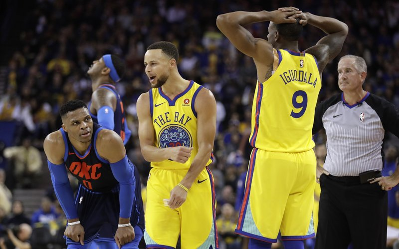 Russell Westbrook, Stephen Curry, Andre Iguodala
