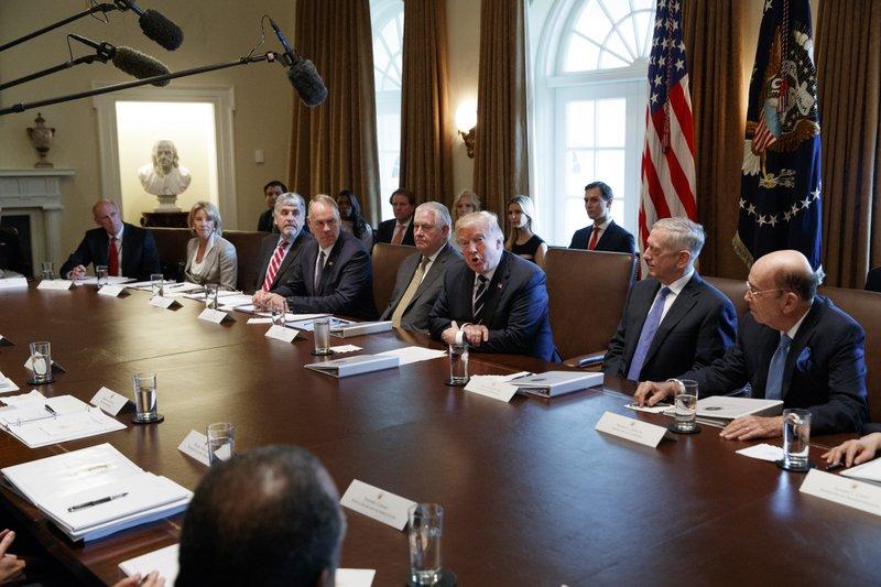 Donald Trump, Dan Coats, Ryan Zinke, Jim Mattis, Rex Tillerson, Wilbur Ross, Eric Hargan, Betsy DeVos