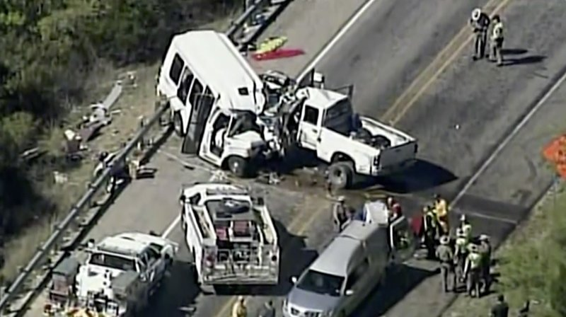 Officials: Callers saw a pickup swerving before Texas crash