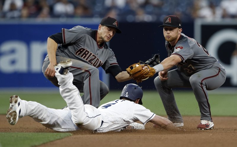 Arizona Diamondbacks second baseman Brandon Drury, right, applies a tag on San Diego Padres' Wil Myers, center, as he is caught stealing second, with shortstop Nick Ahmed, left, in on the play during the fourth inning of a baseball game in San Diego, Thursday, April 20, 2017. (AP Photo/Alex Gallardo)