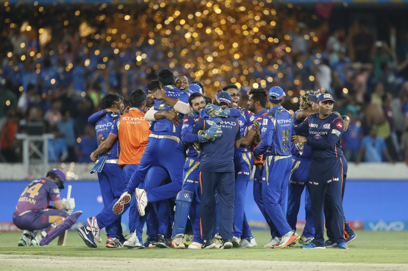 Mumbai Indians celebrate after winning the Indian Premier League (IPL) cricket final against Rising Pune Supergiant in Hyderabad, India, Sunday, May 21, 2017.