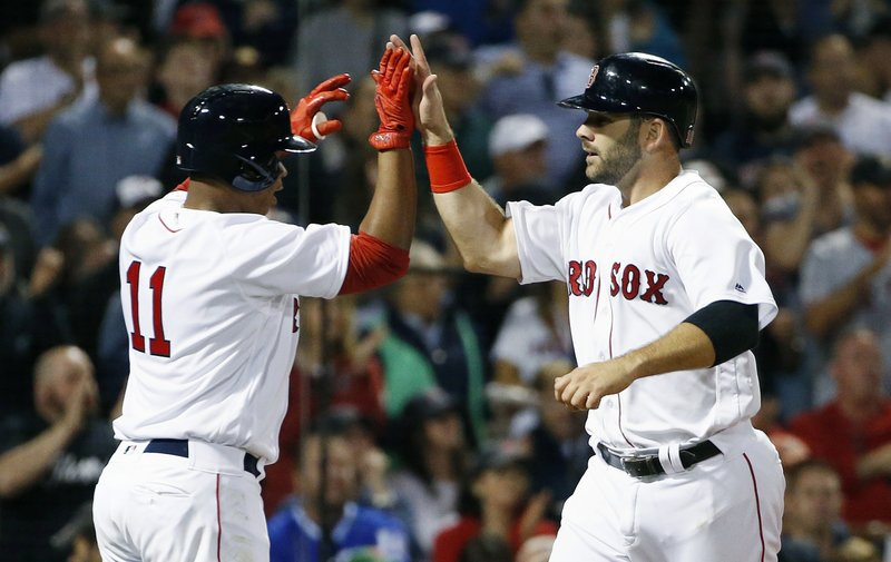 Mitch Moreland, Rafael Devers