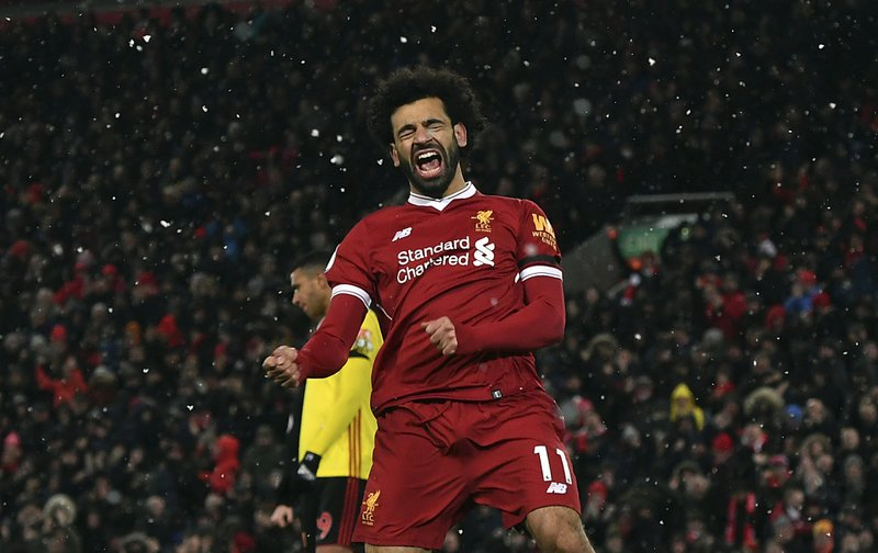 3a1f383e053 Liverpool's Mohamed Salah celebrates scoring his hat-trick during the  English Premier League soccer match between Liverpool and Watford at  Anfield, ...
