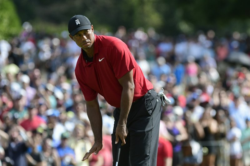 Tiger Woods practices on the Ryder Cup course for the first time
